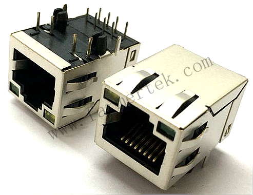 RJ45 CONN,W/LED,8P,8C, SHIELDED/THRU HOLE/10/100M/FILTER