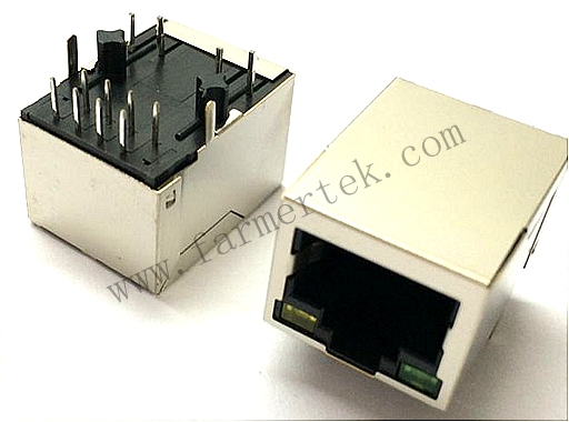 RJ45 CONN,W/LED,10P8C,SHIELDED /THRU HOLE/10/100M/FILTER